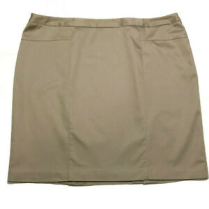 Worthington Woman Stretch Khaki Skirt 20W Lined L22 Office Career Straight Plus