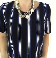 SPORTSGIRL TOP CROP STRIPED STRETCHY SHORT SLEEVE BLUE BLACK WHITE SZ 12