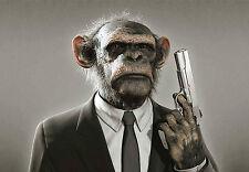 Incorniciato stampa-Chimpanzee con una pistola (PICTURE POSTER MONKEY SCIMMIE gorilla ART)