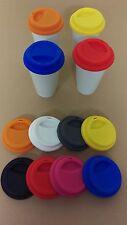 4 x Kaffee Coffee to go Becher weiss PORZELLAN Silikondeckel alle Farben
