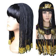 COSLIVE Cleopatra Women Cosplay Costume Long Black Braid Wig Hair Accessories