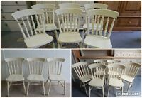 Painted Solid Wood Spindle Back Farmhouse Country Kitchen Dining Chairs in Cream