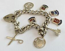 Superb Early Vintage Heavy Solid Silver Charm Bracelet Lots Of Charms 36.75 Gram