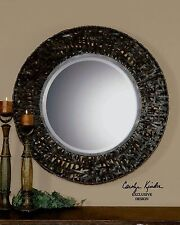 Black Messed Metal Contemporary Wall Mirror | Open Round Vanity