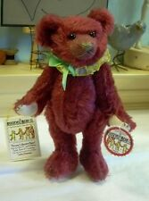 """9"""" Artist Teddy ROOSEVELT BEAR mohair cranberry Limited hand made Cathy Peterson"""