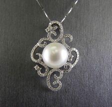 South Sea Pearl & Diamond Filigree Lady's Pendant 18K White Gold 1.20Ct 15mm