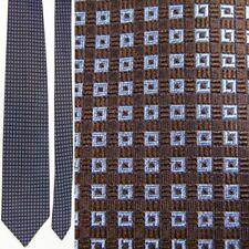 NEW TAGS RR RICHEL BILL WALKER BLUE BROWN GEOMETRIC CUBE STRIPE SILK NECKTIE TIE