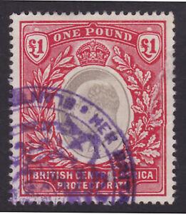 British Central Africa. SG 66, £1 grey & carmine. Used.