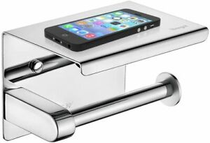 Wall Mounted Stainless Steel Toilet Roll Holder With Phone Shelf Chrome, Silver