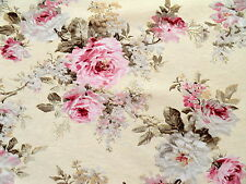 Romantik Rosen Deko Stoff Shabby Landhaus Rosenstoffe rosa auf creme Bezugstoff