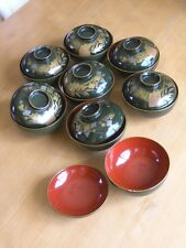 Group 8 Great Antique Signed Japanese Covered Lacquer Bowls Gold Silver Paint