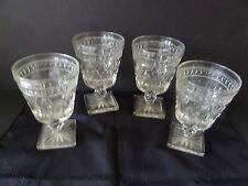 Vintage 4 Clear Pedestal Indiana Glass Co. Park Lane Colony Pattern Square Base