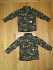 Twin boys ARMY MOSS GREEN CAMO PRINT Zip Fleece sweatshirts tops NWT 4