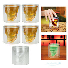 5PCS Crystal Clear Skull Head Glass Cup Whiskey Cocktail Wine Beer Tea Drinking