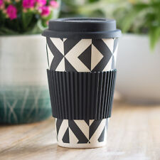 Black Geometric Bamboo Fibre Travel Mug 450ml Reusable Hot Drink Cup Tea Coffee
