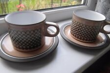 Hornsea Pottery Coral Tea Cups & Saucers x 2 Retro Vintage