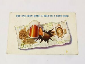 You Can Soon Make a Hole in a Note Here Cartoon Beer Postcard