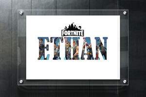 PERSONALISED FORTNITE NAME WALL ART PRINT POSTER IDEAL GIFT A4 CHILDRENS ROOM