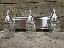 Mason Jar Light 3-Light Brushed Nickel Vanity with Authentic Pint Ball Jars