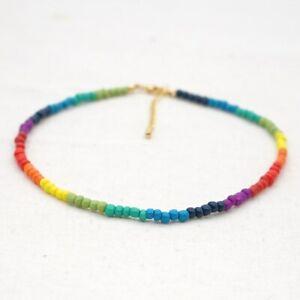 Colourful Beaded String Rainbow Necklace Bohemian Choker Men Women Free Bag UK