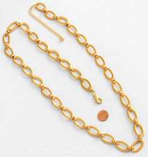 Chico's Necklace Beautiful Long Mat Gold Tone Chunky Oval Link Chain NWOT