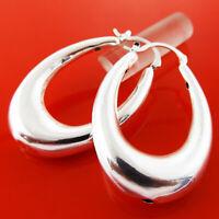 Hoop Earrings Real 925 Sterling Silver S/F Ladies Long Oval Drop Dangle Design