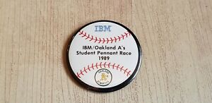 """IBM Oakland A's Student Pennant Race 1989 - Button 3"""""""