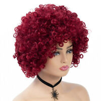 Women Short Afro Curly Synthetic Hair Full Wigs Cosplay Red Heat Resistant Wig