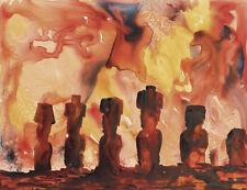 Moai statues on Easter Island.  Moai artwork.  Watercolor landscape Moai statue
