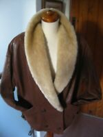 Ladies M&S vintage real shearling SHEEPSKIN JACKET UK 10 12 14 flying aviator