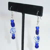 Statement Drop Dangle Earrings Dangling Royal Blue Artisan Glass Beaded Unique