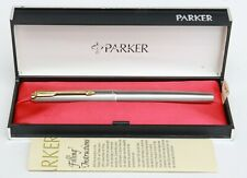 PARKER 65 FLIGHTER DELUXE FOUNTAIN PEN STAINLESS STEEL FINISH  GOLD TRIM & CLIP