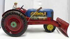 GREAT TOY TIN TRACTOR WITH SNOW PLOW BLADE ALL ORIGINAL PAINT