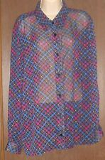 The Tog Shop Black Blouse Size 20 NWT Blue Purple Pink Stripes Checks Sheer