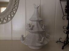 "Vintage 17"" White Ceramic Christmas Tree 9 Dove Candle Holder"