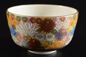#382: Japanese Kutani-ware Flower Muffle painting TEA BOWL Green tea tool, auto