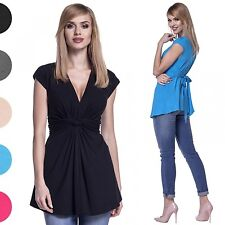 Glamour Empire. Women's Top Empire Ruched Knot Detail. Cap Sleeves. V-neck. 966