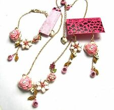 Betsey Johnson crystal Pink Peach blossom Necklace Bracelet Earring set#203T