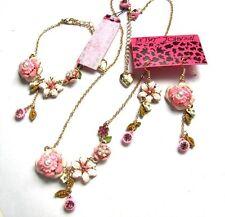 Betsey Johnson crystal Pink Peach blossom Necklace Bracelet Earring set#203T