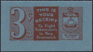 Canada VanDam #NBT13 3c red on blue roulette NB tobacco tax, single, MNH -1941