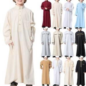 Kids Boys Muslim Islamic Abaya Kaftan Thobe Saudi Arab Long Sleeve Kaftan Robe