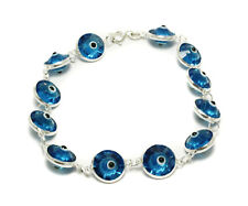 Evil Eye Light Blue Crystal Bracelet .925 Sterling Silver Bead Fashion Jewelry