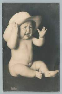 Crying Baby in Oversized Hat RPPC-Sized Photo Moore Grease Advertising 1910s