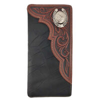 Men's Genuine Leather Wallet Long Bifold Western Wallet for Men
