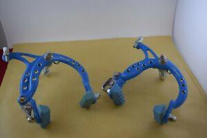 Lee Chi 1001 brake caliper set Οld school bmx cyan aluminium drilled 1980s Nos