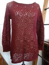 Pacsun LA Hearts Size XS S Tunic Maroon Red Sweater Open Crochet Long Sleeve 89e79f9bd