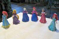 Disney Princess Magiclip Lot (1) ~ 6 Disney Princess Dolls & 6 Magiclip Dresses