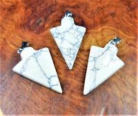 Arrowhead Necklace - White Howlite Pendant - Carved Arrow Charm
