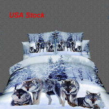 4 Piece/Set Wolf 3D Bedding Set Twin Snow Wolf in the Woods Print 3D Safety Use