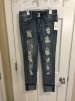 Women's Rue21 Mid Rise Jeggings Destroyed Denim Jeans Size 6 8 10